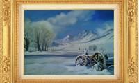 """""""CARRO SULLA NEVE 2012"""" -40×60 cm-  olio su tela         (venduto)"""