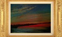 """""""TRAMONTO SULLE ACQUE 2012"""" -30X40 cm-  olio su tela  (venduto)"""