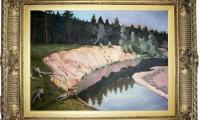 """""""RIVA BOSCOSA 2007"""" -30X40 cm- olio su tela -Riproduzione"""